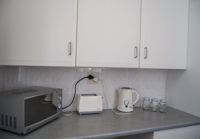 kitchen counter with equiment