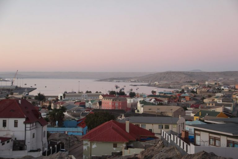 view over the town during sunrise